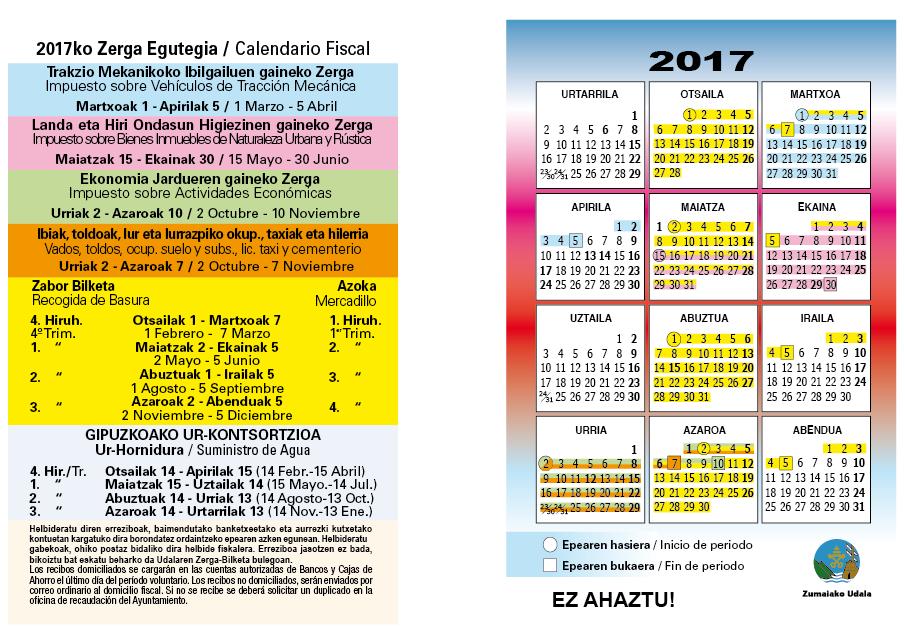 Calendario fiscal — Ayuntamiento de Zumaia